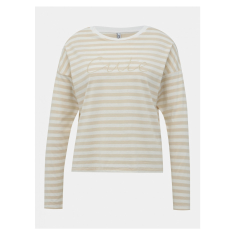 Beige Striped T-shirt with EMBROIDERY ONLY Rosely
