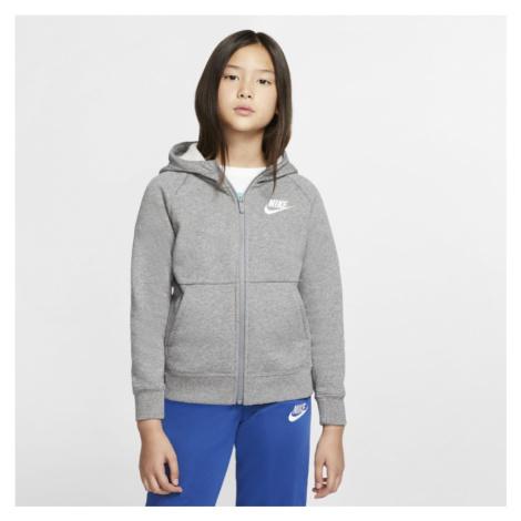 Dziewczęca bluza z kapturem i zamkiem na całej długości Nike Sportswear - Szary