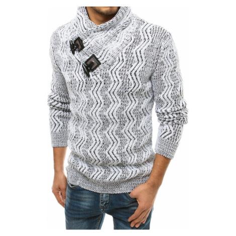 Męski sweter z białej wełny WX1566 DStreet