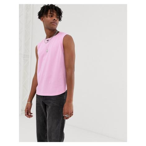 ASOS DESIGN cropped vest in pique in pink
