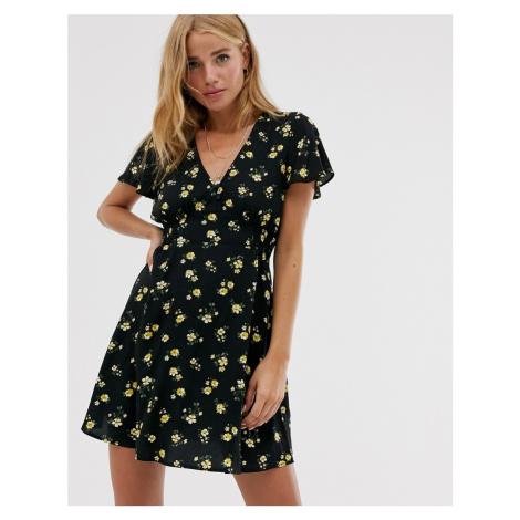Pull&Bear floral mini dress in black Pull & Bear