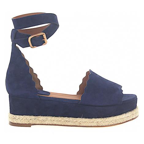 Chloé - Buty Espandryle Sandały LAUREN zamsz niebieskie