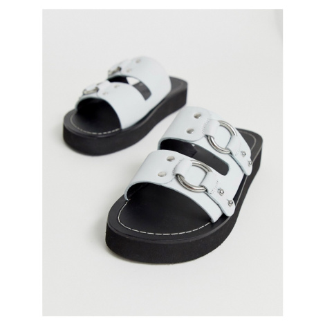 ASOS DESIGN Ficton premium leather hardware flat sandals in white