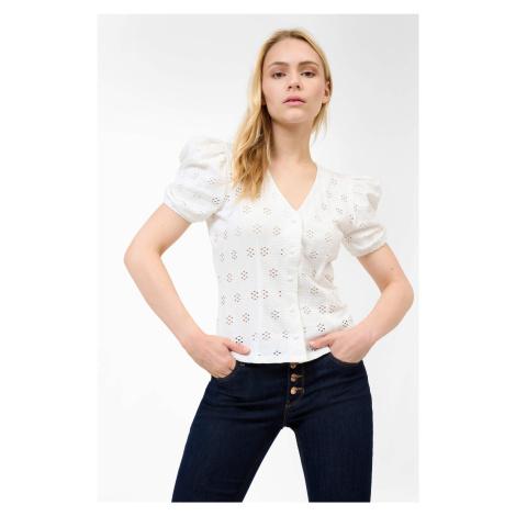 Ażurowa koszulka na guziki Orsay
