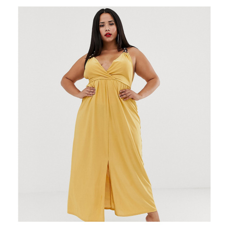 ASOS DESIGN Curve slinky maxi dress with ring detail