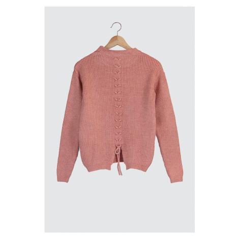 Bluza ze swetrem Trendyol Rose Rose Dry Tie — szczegółowy sweter z dzianiny