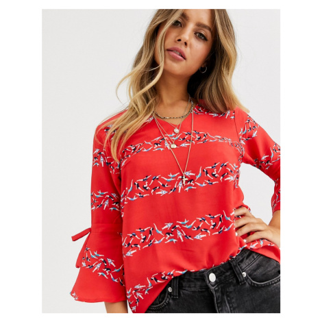 Yumi striped v neck blouse with flare sleeves