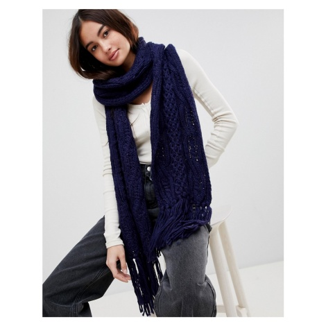 Vincent Pradier Long Knit Cable Scarf in Navy Blue
