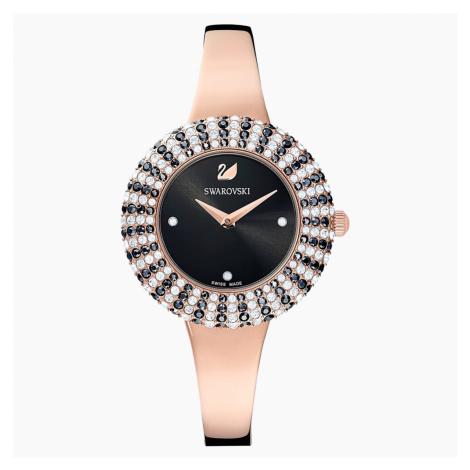 Zegarek Crystal Rose, bransoleta z metalu, czarny, powłoka PVD w odcieniu różowego złota Swarovski