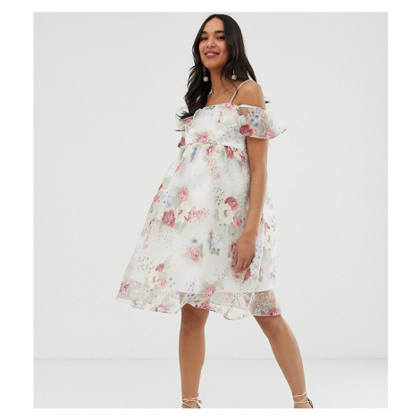 Chi Chi London Maternity bardot overlay floral dress with frill in cream