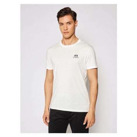 La Martina T-Shirt Jersey CCMR02 JS206 Biały Regular Fit