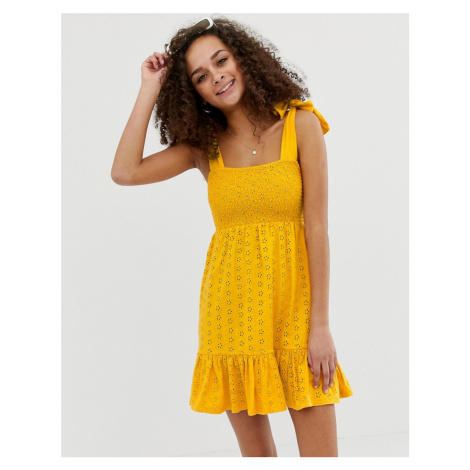 ASOS DESIGN shirred broderie sundress with tie straps