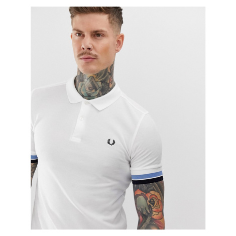 Fred Perry bold cuff polo in white