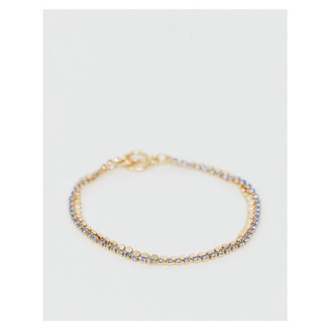ASOS DESIGN double row bracelet with fine stones and disc chain in gold tone