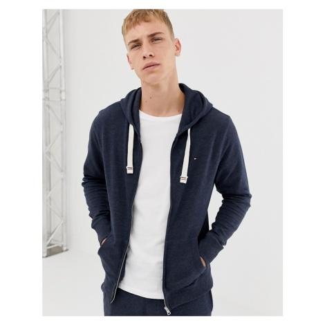 Tommy Hilfiger flag logo full zip lounge hoodie in navy marl