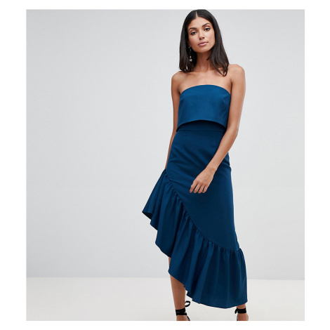 ASOS DESIGN Tall soft bandeau midi dress with peplum