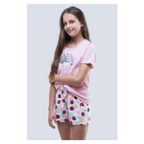 Dziewczęca piżama letnia Cats różowa Gina