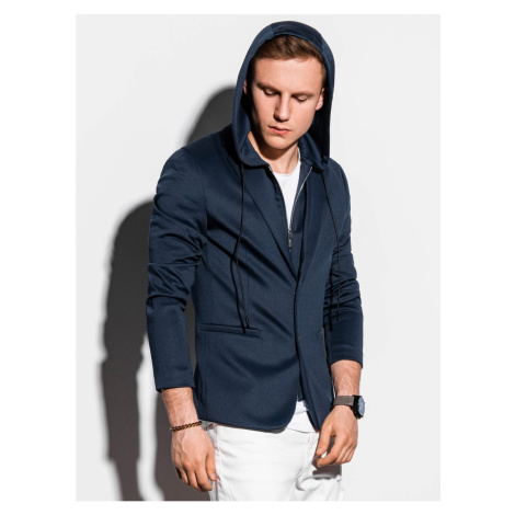Ombre Clothing Men's casual hooded blazer jacket M156