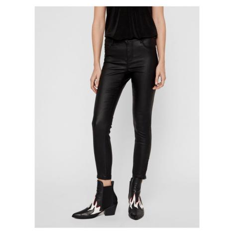 Czarne spodnie skinny fit Noisy May Kimmy ze sztucznej skóry