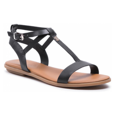 Tommy Hilfiger Sandały Feminine Leather Flat Sandal FW0FW05628 Czarny