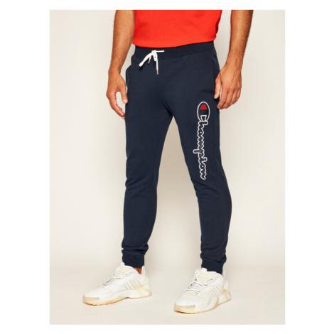 Champion Spodnie dresowe Satin Script Logo 214190 Granatowy Regular Fit