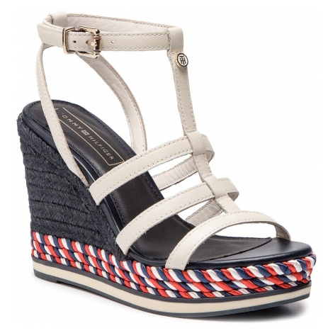 Espadryle TOMMY HILFIGER - Colorful Rope Wedge Sandal FW0FW03821 Whisper White 121