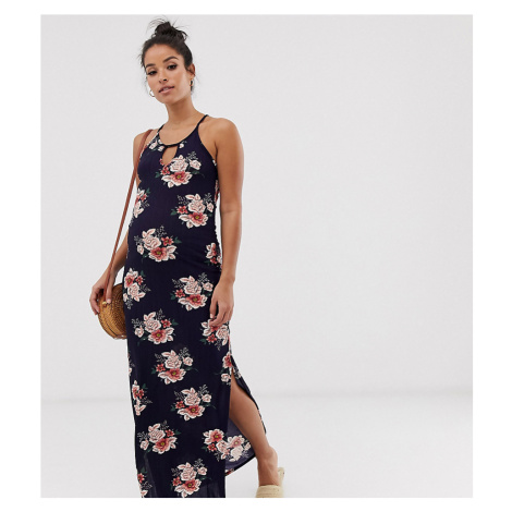 New Look Maternity plisse maxi dress in floral pattern