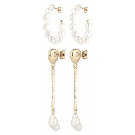 PIECES Zestaw biżuterii 'PCJOSEPHINE 2-PACK EARRINGS KEY' złoty