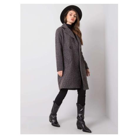 Grafitowy i czarny damski płaszcz bouclé