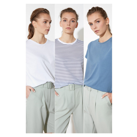Trendyol Multicolored Basic Knitted T-Shirt