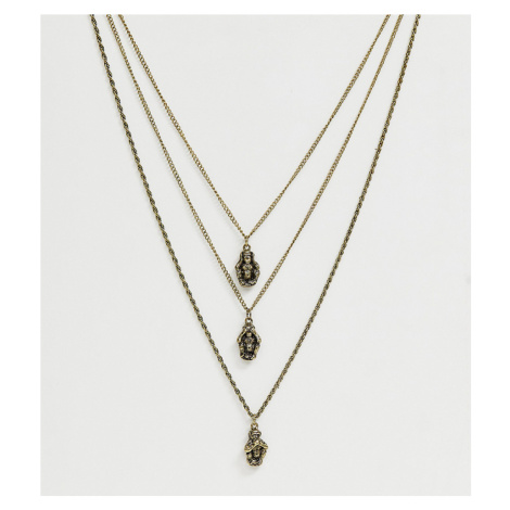 Reclaimed Vintage inspired layered neckchain with three monkeys in burnished gold exclusive to A