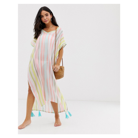 White Cabana multi stiped maxi cover up