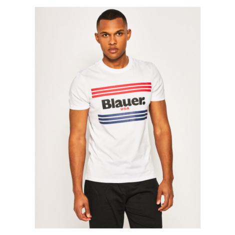 Blauer T-Shirt Stripes 20SBLUH02178 004547 Biały Regular Fit