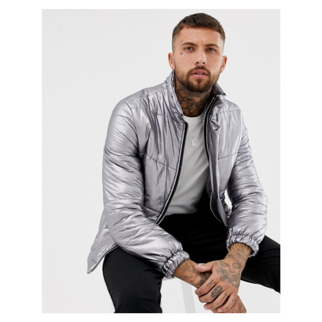 BoohooMAN puffer jacket in silver