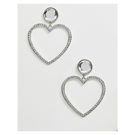 ASOS DESIGN earrings in heart design with crystals in silver tone