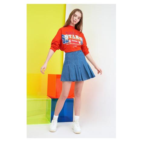 Trendyol Blue Pleated Mini Denim Skirt
