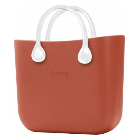 O bag torebka MINI Terracotta z krótkimi białymi uchwytami ze skajki