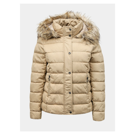 Only beżowa kurtka zimowa Luna
