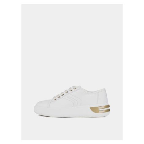 Białe skórzane sneakersy damskie Geox Ottaya