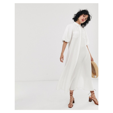 ASOS DESIGN puff sleeve trapeze maxi shirt dress with contrast stitching