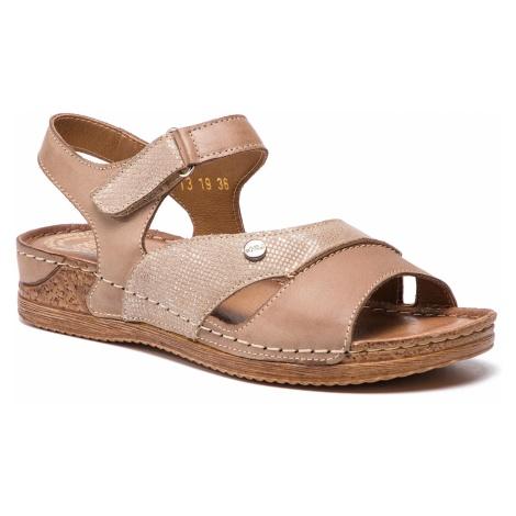 Sandały WALDI - 0713 Capucino/Srebro/Cap