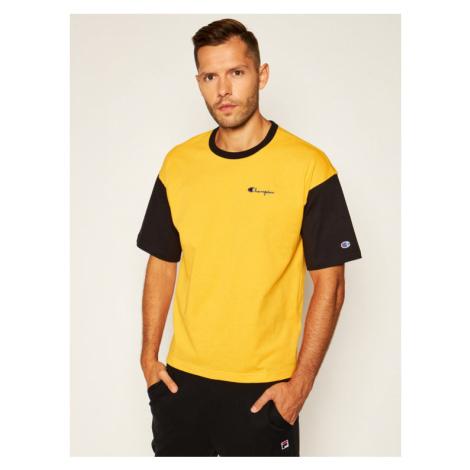 Champion T-Shirt Manica Logo 214285 Żółty Regular Fit