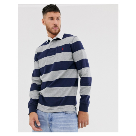 Polo Ralph Lauren regular fit block stripe rugby polo in grey/navy