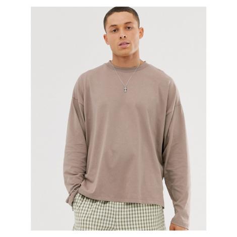 ASOS DESIGN oversized long sleeve t-shirt with side splits in beige