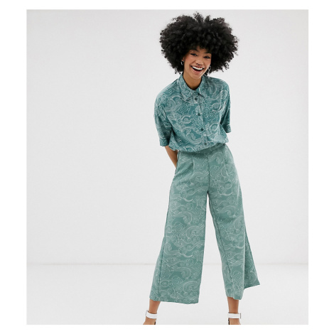 Monki cropped wide leg trousers with elastic waist and cloud print in turquoise