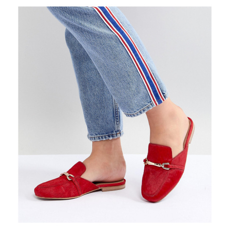 ASOS DESIGN Movie Wide Fit Leather Mule Loafers