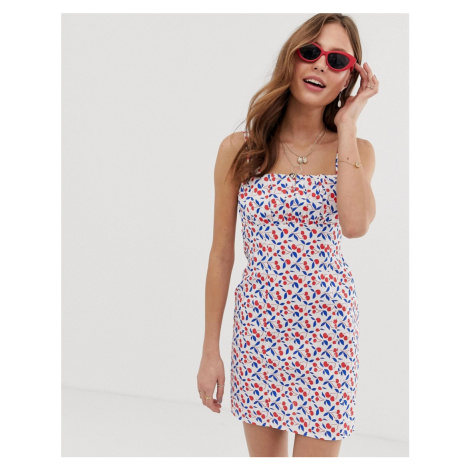 ASOS DESIGN ruched bust mini sundress in cherry print