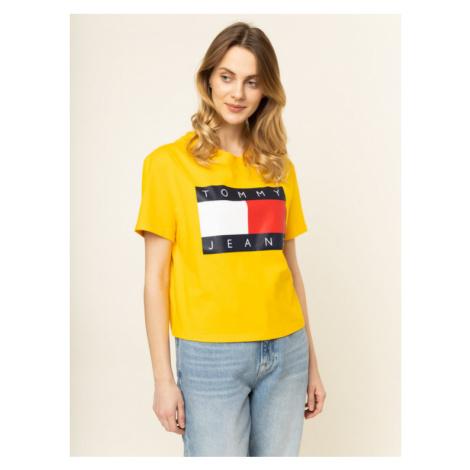 Tommy Jeans T-Shirt Flag DW0DW07153 Żółty Oversize