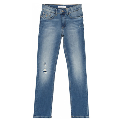 Calvin Klein Jeans Jeansy 'SLIM MNGRM LIGHT DESTR STR' niebieski denim