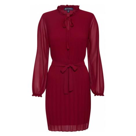 Mela London Sukienka 'LONG SLEEVE PLEATED BELTED DRESS' czerwony